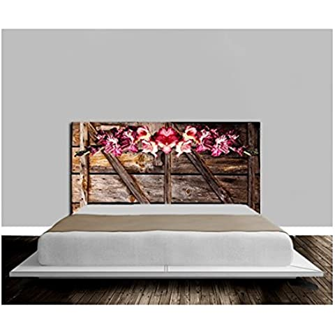 Cabecero de la cama de madera, diseño de flores