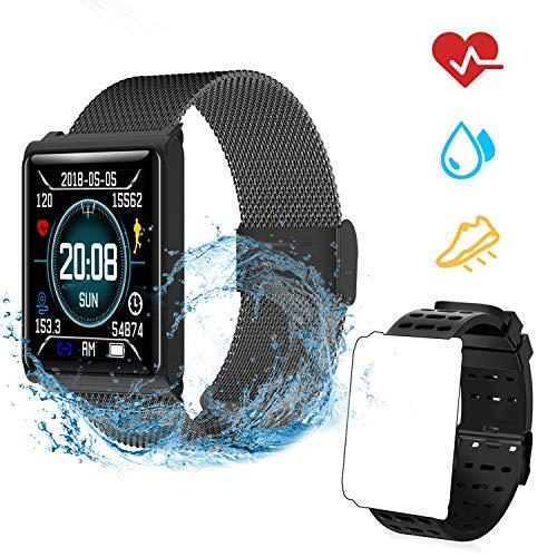 Fitness Armband Pulsmesser, Wasserdicht IP67 Fitness Tracker Farbbildschirm mit GPS Aktivitätstracker Pulsuhren Smartwatch Schrittzähler Kompatibel mit iOS und Android + 1 Replaceable Watch Strap