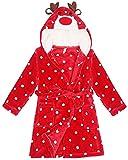 Peignoir à Capuche Unisexe Enfant Peignoir de Bain avec Capuche Robe de Chambre Cartoon Animal Motif Peignoirs Rouge Cerf 120