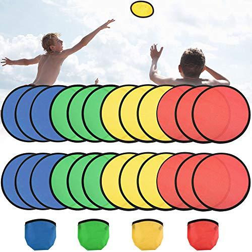 FAVENGO 24 PCS Flying Disc Spielzeug Soft Frisbee Kinder Mini Frisbee Set Faltbar Frisbee Scheibe mit Taschen für Holiday, Outdoor, Sport, 4 Farben
