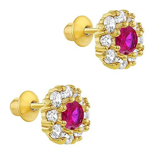 Ohrstecker, 18K Vergoldet, Rund, Rosafarbene & farblose Kristalle, für Babys / Kinder, mit Schraubverschluss, Ohrring - 2