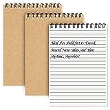 Lot de 3 cahiers à spirale A5 Couverture souple avec couverture en kraft ligné 100 pages/50 feuilles de bloc-notes Agenda parfait pour le voyage