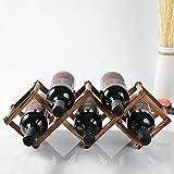 QIANGZI Holz Weinregale Frei Stehend 5 Flaschen Lagerregal Für Keller Karbonisierte Farbe Stabile Stand 45 × 12 × 16 cm (Farbe : Natrual Color)