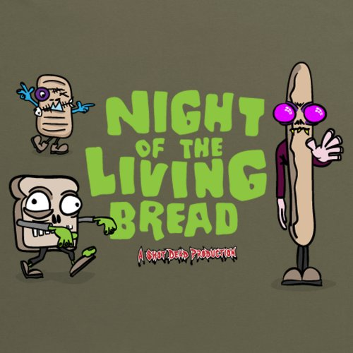 Night Of The Living Bread T-shirt, Uomo Verde oliva