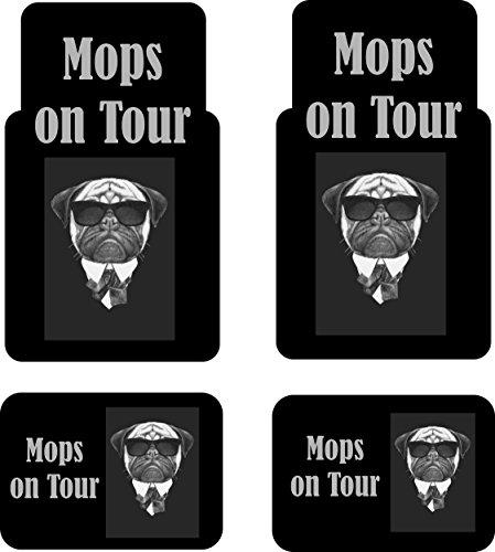 """Auto-Fussmatten bedruckt 4er Set, \""""Mops on Tour\"""" Fussmatte für Auto, bedruckt mit Motiven, auch individuelle Gestaltung"""