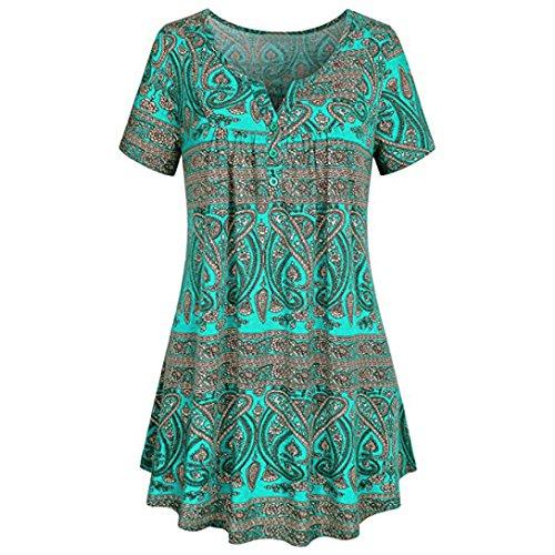 SEWORLD 2018 Damen Mode Sommer Herbst Frauen Solide Spitze Patchwork Geraffte Bluse Oberteile Kurzarm Pullover Tops Shirt(Blau5,EU-40/CN-M) (Geraffte Bandeau Solide)