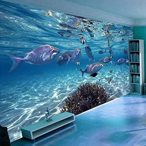 Tapete 3D Dreidimensionale Wandbild Tapete World Marine Fish Swimming Kinderzimmer Wohnzimmer Fernseher Hintergrund Tapete PVC 1㎡ Anpassbare Huzi -