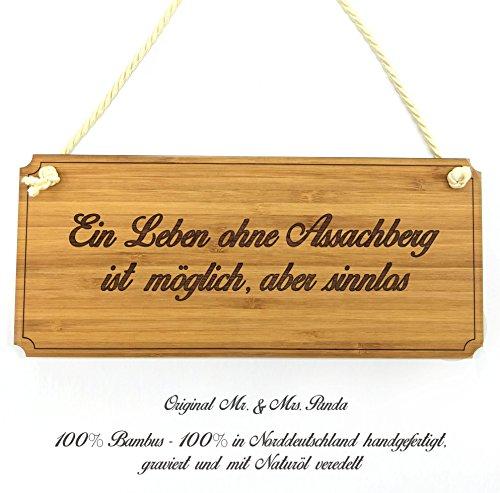 Mr. & Mrs. Panda Türschild Stadt Assachberg Classic Schild - Gravur,Graviert Türschild,Tür Schild,Schild, Fan, Fanartikel, Souvenir, Andenken, Fanclub, Stadt, Mitbringsel