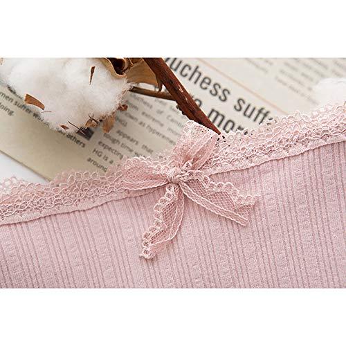Haodou String mit Spitze Damen Unterhose Baumwolle Unterwäsche Reizvolle Wäsche durchsichtige Tanga G-Schnur Schlüpfer Damenwäsche Dessous Länge 21cm (Rosa A-M) - 8