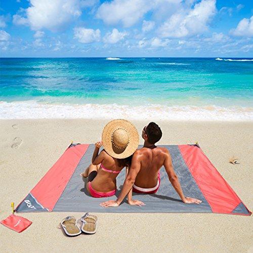 Telo da Campeggio,Beach stuoie Anti sabbia e acqua oversize durevole portatile compatto leggero per viaggio Festival escursione di campeggio esterna di picnic bleu, 210 X 200cm