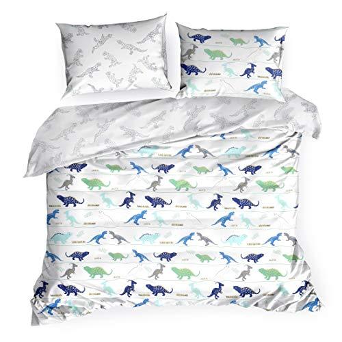 Design91 Bettwäsche Bettzeug Dinos Aufdruck Dinosaurier Bettbezug Baumwolle Oeko-Tex Set 2 Kissenbezüge 1 Deckenbezug Kinderzimmer, Weiß + Blau, 140X200cm