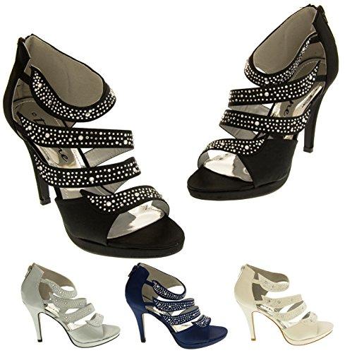 Divine Satin et Diamante Sandales de Mariage Femmes