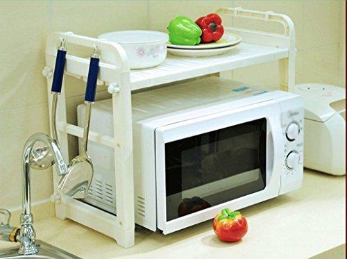 DFHHG® Reiskocher Regal Küche Supplies Töpfe Küchenutensilien Rack Microwelle Ofen Ofen Rack Elfenbein Stark und langlebig