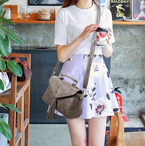 Frauen Mode Quaste Zubehör PU-Dame-Schulter-Handtaschen-Taschen-Geldbeutel Grey