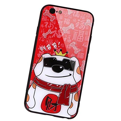 aichose iPhone 7Fall, iPhone 8Fall, Luxus Fortune Cat für Ihr Handy Neue Jahr, Tempered Glas Back Cover mit Soft TPU Bumper Rahmen Stoßdämpfung bietet Starken Schutz, iPhone 7/8, FortuneCat D -
