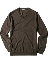 RENÉ LEZARD Herren Pullover mit V-Ausschnitt Schurwolle V-Pullover Unifarben, Größe: 50, Farbe: Braun