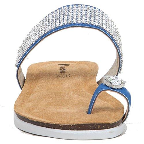 Sparkling Silver Ice-Anello da donna, in pelle, con zeppa, stile Casual Blu (blu)