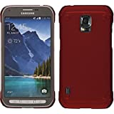 PhoneNatic Case para Samsung Galaxy S5 Active Funda de goma Hard Case para Galaxy S5 Active + 2 Protectores rojo rojo
