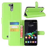 Oukitel K6000 Pro Case, HualuBro [All Around Protection] Premium PU Leather Wallet Flip Phone Protective Case Cover with Card Slots for Oukitel K6000 Pro Smartphone (Green)