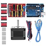 Zerone Kits de Impresora 3D CNC Shield V3.0 + UNO R3 Board + Nema 17 Stepper Motor + 4PCS A4988 Driver + Stepper Motor Controller Kit de Escudo con disipador térmico para Quimat Arduino