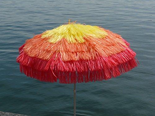 Maffei Art 7Tulum, Sonnenschirm rund Durchmesser cm 200, mit Bast 3Farben, Made in Italy. Farbe gelb/orange/rot