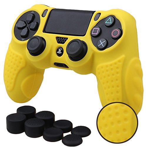 MXRC Silikon Grip Cover Haut Fall Anti-Rutsch für PS4/Slim/Pro Controller X 1(Gelb) + FPS Pro Extra Höhe Daumenauflage X 8 (Ps2-gelbe Haut)