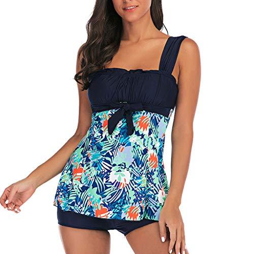 EUCoo_ Wetsuit Damen Groß Größe Badebekleidung Sommer Badebekleidung Print Tankini Badebekleidung Print Sling Badeanzug Boxer Badebekleidung Beachwear 2St -