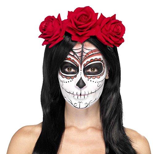 NET TOYS Gothic Rosenhaarband Haarschmuck Rote Rosen Kopfschmuck Tag der Toten Haarreif Dia de los Muertos Haarband Sugar Skull Gothic Stirnband