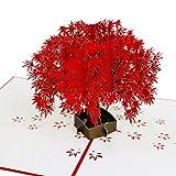 Gspirit 3D Pop Up Handarbeit Gruß Karte, Charmant Design Ideal für Danke Geburtstag Jahrestag, Volle leere Seite, um in Nachricht zu schreiben - Drücken Sie Ihre Liebe aus (Ahornbaum)