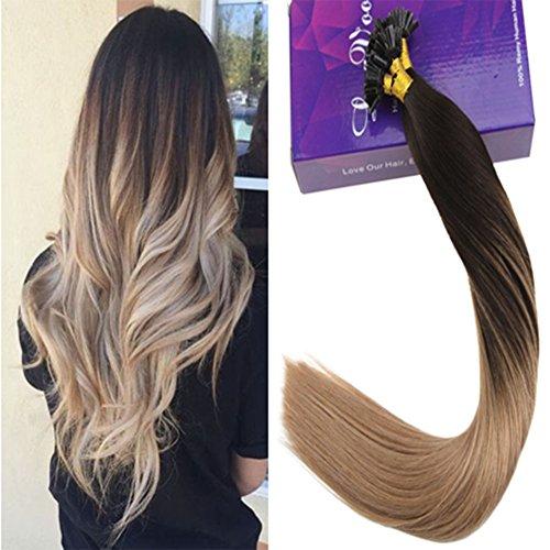 LaaVoo 45 cm 1G Haarverlangerung Remy U-Tip Extensions Balayage Dunkelstes Braun Ombre Aschblond #2/18 Remi Keratin Extensions Echthaar 50S