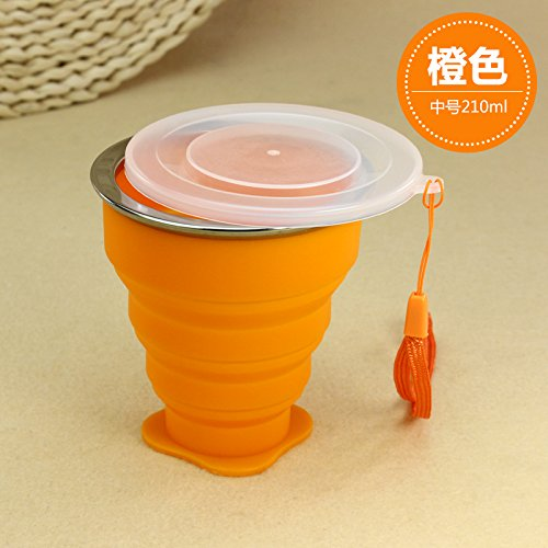 Tragbare mini Falten cup Silikon Teleskop Becher mit Deckel outdoor Ausflüge Wasser waschen 210/230 ml, 210 ml Becher orange (Pong Bier Waschen)