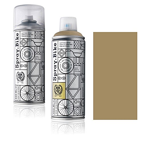 "Fahrrad Lackspray in versch. Farben - KEINE GRUNDIERUNG notwendig - Acryllack / Lack Spray in 400 ml Spraydose, Matt- und Klarlack Optik möglich (Karamelbraun ""Calcott\"", Klarlack Set)"