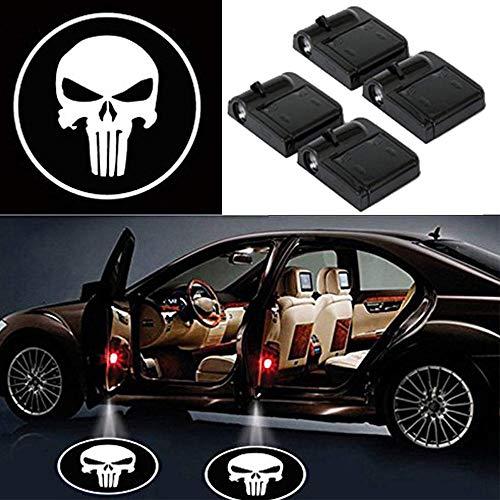 LED Auto Projektor, 4 Stück Autotür Muster Schatten Licht, Universal Drahtlose Wireless Magnetisch Sensor Schatten Logo Licht für Autotür (bone)