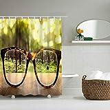 YLXINGMU Großer Duschvorhang Wasserdicht Und Geschmacksneutral Umweltfreundlich Welt In Gläsern Duschvorhang Aus Polyester 120Cm(W)×180Cm(H)