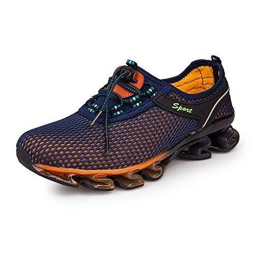 KUBUA Sportschuhe Herren Damen Laufschuhe Atmungsaktiv Gym Turnschuhe Freizeit Outdoorschuhe Fitnessschuhe Sneaker Schnürer EU 45 Braun