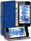 moex Samsung Galaxy S2 | Hülle Blau mit Karten-Fach 360° Book Klapp-Hülle Handytasche Kunst-Leder Handyhülle für Samsung Gala