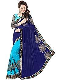 Tread India Georgette Saree (Tread-Blue(178)_Blue)