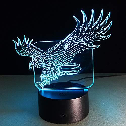 Mddjj Wow Amazing Flying Eagle Eagle Night Light Colorful Hawk Lámpara De Mesa 3D Para Office Hotel Bedroom Bar Luz De Dormitorio
