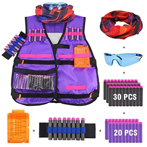 Kinder Tarnung Taktische Weste Jacke Kit für Nerf Guns mit 50er Schaum Darts + Schutzbrille + Clip Magazine für 6 Darts + Handgelenk Band + Gesichtsmaske