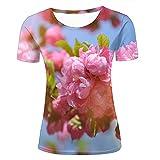 yao shop Damen Fashion 3D Print T-Shirts Beautiful Pink Flowers and Sunlight Graphics Summer Casual Short Sleeve Tees XS