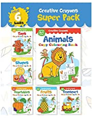 Colouring Books Super Pack: Creative Crayons Series - A Pack Of 6 Crayon Copy Colour Books