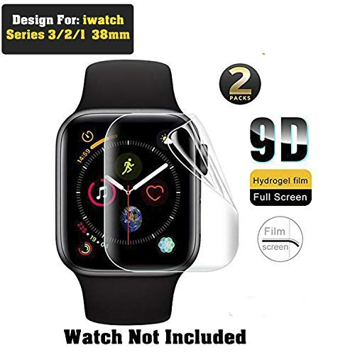 CellFATher® for Apple Watch 38mm Anti-Bubble,9D Curve Edge Soft Hydrogel Full Screen Protector Film for iWatch 38mm Explosion Proof Film for iWatch Series 3 2 1 Not Tempered Glass (Pack of 2)