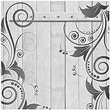 Wallario Möbeldesign/Aufkleber, geeignet für Ikea Lack Tisch - Graue Holztür mit Schnörkelmuster in 55 x 55 cm