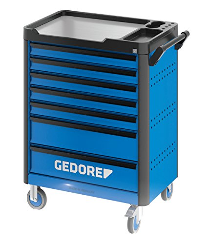 GEDORE WHL-L7 workster highline Werkzeugwagen unbestückt, blau – Rollbarer Werkstattwagen mit 7 Schubladen & Arbeitsplattform – 500 kg Tragkraft
