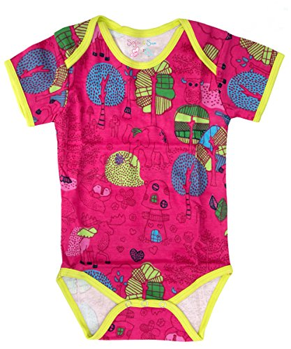 Sofie & Sam London, Baby Bodysuit Romper Onesie made from Organic Cotton, Jungle Pink