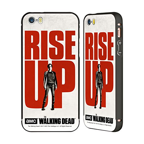 Ufficiale AMC The Walking Dead Maggie Alzarsi Nero Cover Contorno con Bumper in Alluminio per Apple iPhone 5 / 5s / SE Maggie