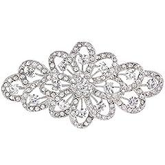 Idea Regalo - Ever Faith Austriaco di cristallo da 4 pollici filigrana Bowknot nuziale Spilla Clear - silver-tone A11705-1
