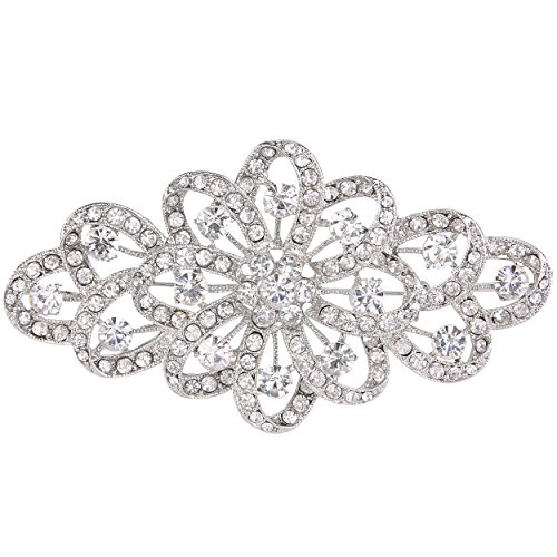 EVER FAITH® österreichischen Kristall Braut elegant Filigran Schleife Brosche klar Silber-Ton A11705-1