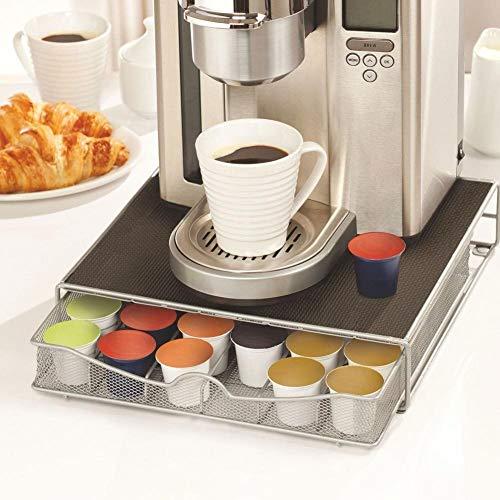 Bakaji contenitore porta capsule e cialde caffè nespresso nescafè lavazza in metallo cassetto estraibile silver e top nero (33 x 32 x 7,5 cm)