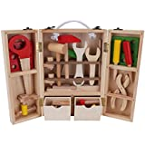 Looching Novelty Wooden Tool Box 10PCS Colorful Educational Construction Playset - Ideal Toy Role Play Set For Kids